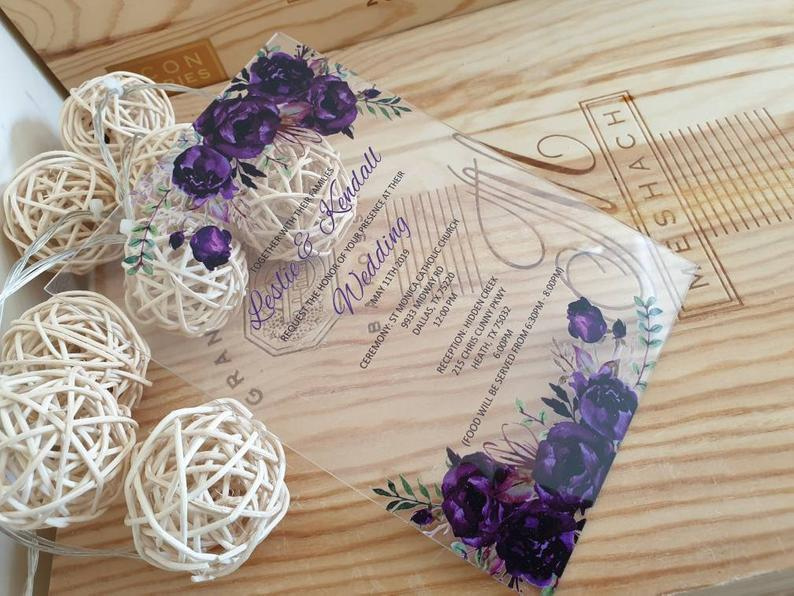 acrylic wedding invitations purple
