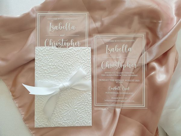 floral rustic pocket invites + acrylic with white ink acrylic invitation