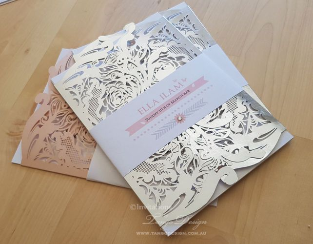 christening baptism 1st year foil silver and blush pink invitation. baby girl birthday invites