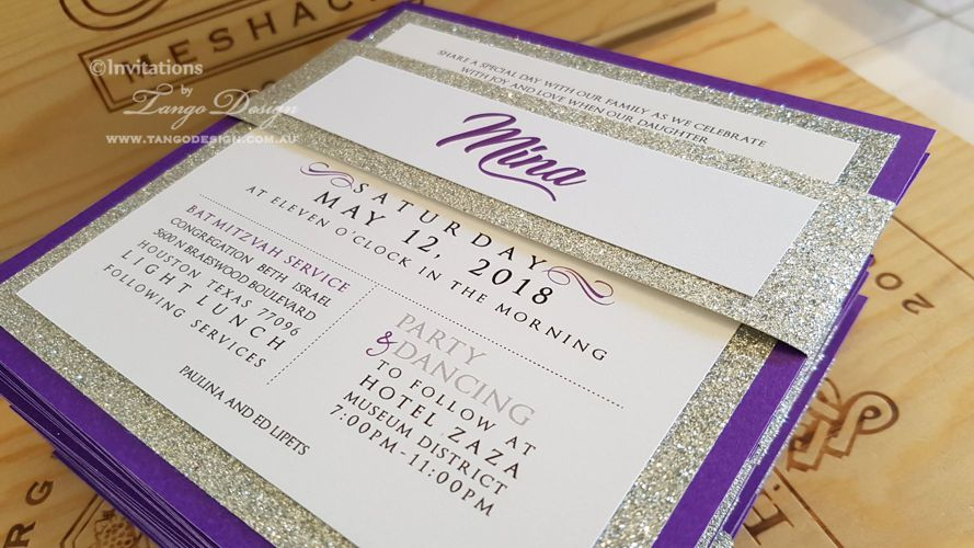 bat mitzvah purple and silver glitter invitation. 13th girl birthday invites
