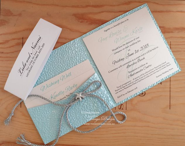 BEACH WEDDING POCKET INVITation set with elegant starfish, and silver cord