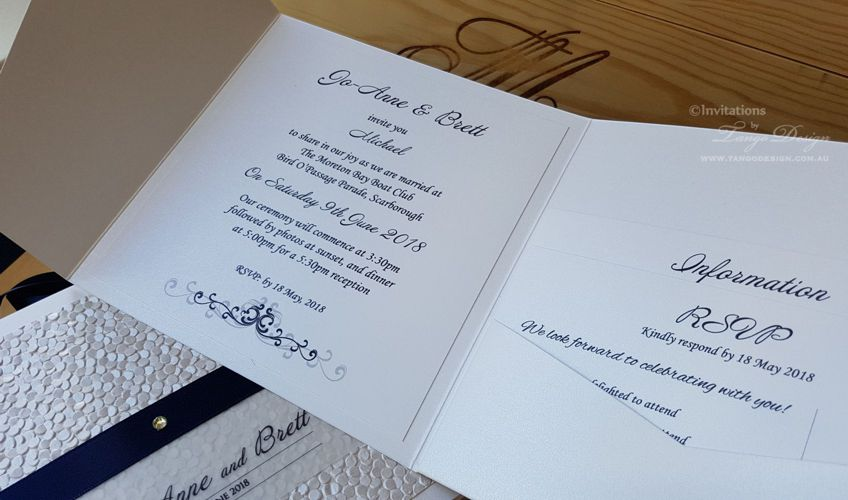 Blue and white wedding invitation pocketfold set with info cards, rsvp and wishing well.