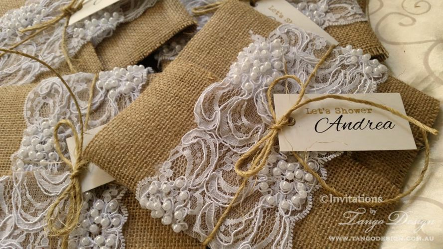 Burlap and lace wedding invitations for rustic wedding