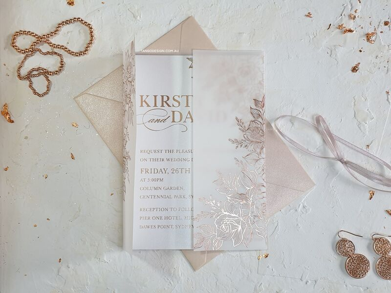 Vellum wedding invitations with rose gold floral Foil design. Wedding invitations australia. Invitations by Tango Design.