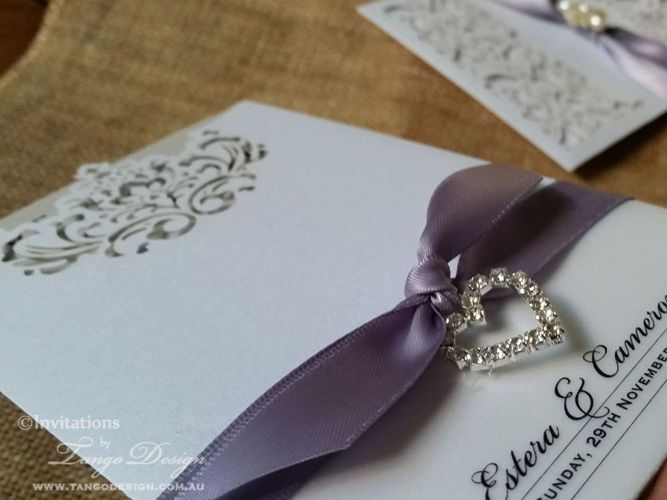 lavender ribbon laser cut wedding invitation pocket sleeve and crystal heart