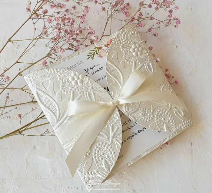 floral wedding invitation set australia with envelope. online invites