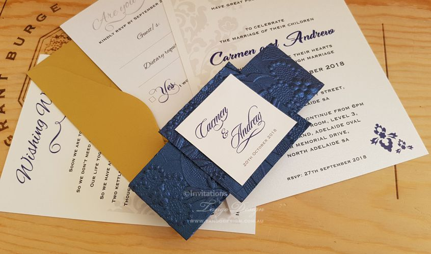 Gold and navy blue wedding invitations. Pack: floral navy blue belly band and tile + wedding invitation + wishing well card + Gold RSVP envelope and white reply card. 5x7 size.