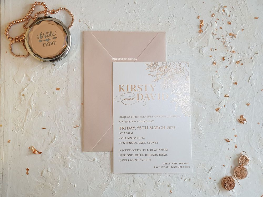 Rose gold Foil  wedding invitations with rose gold floral Foil design. Wedding invitations australia. Invitations by Tango Design.