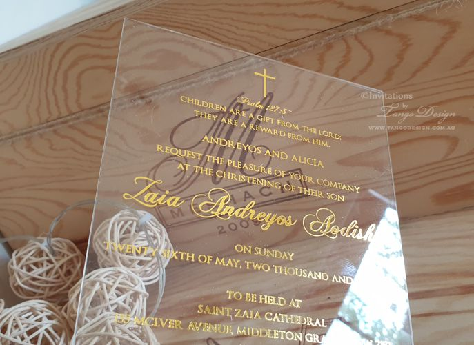 baptism christening boy acrylic invitation