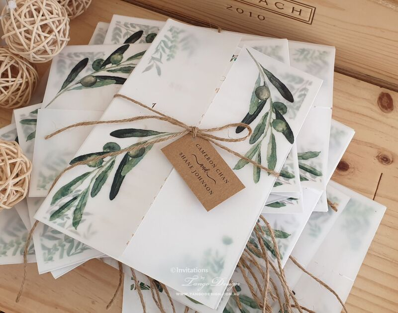 Greenery floral wedding invitations and vellum printed. Rustic botanical garden wedding australia invites.