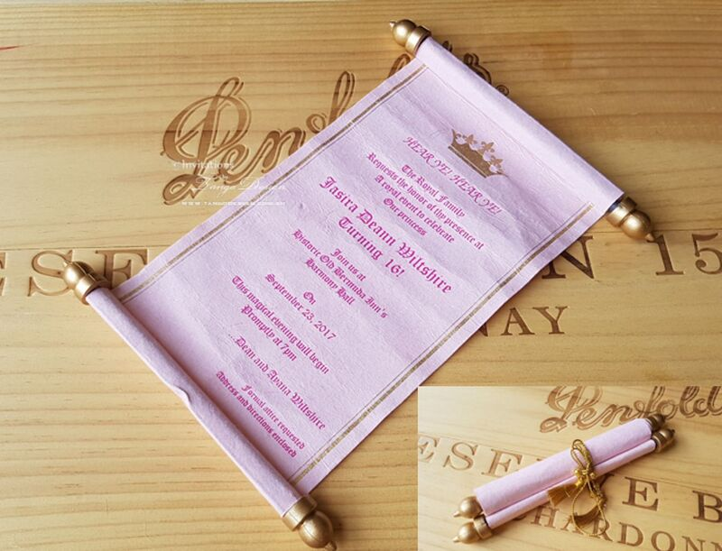 quinceanera pink cinderella scroll princess crown fairytale  invitation. 15th girl birthday invites