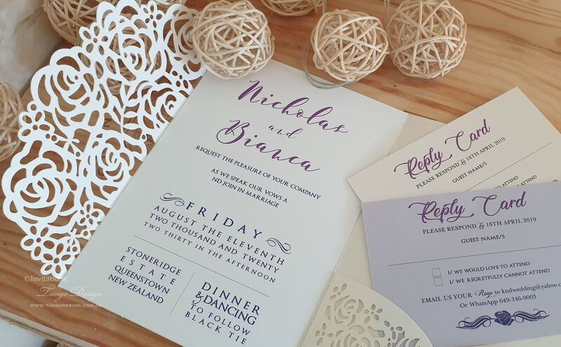 purple floral wedding invitations laser cut invites