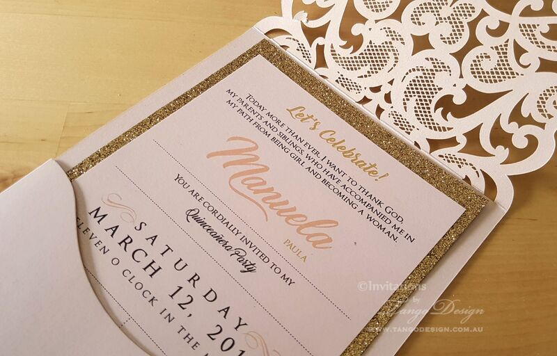 quinceanera pink gold glitter invitation. 15th girl birthday invites