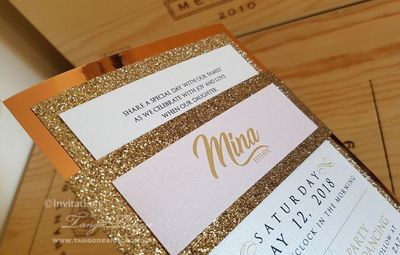 3 layer invitations: Gold rose mirror/ foil paper + gold glitter and ivory printed card