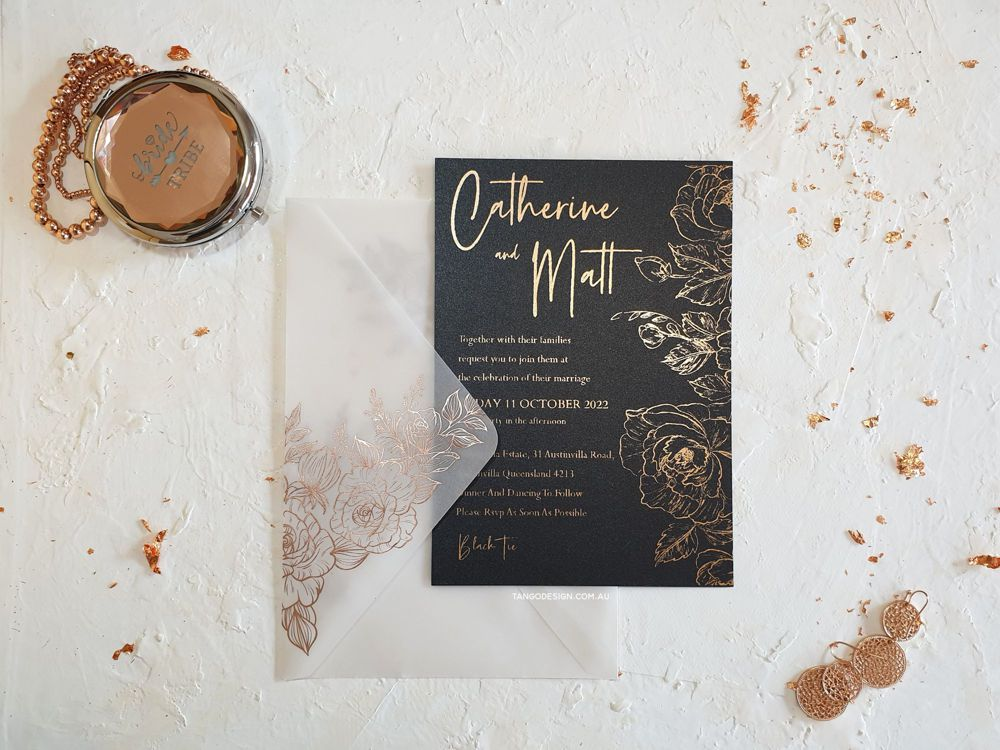 Vellum envelopes + wedding invitations with rose gold floral Foil design. Wedding invitations australia. Invitations by Tango Design.
