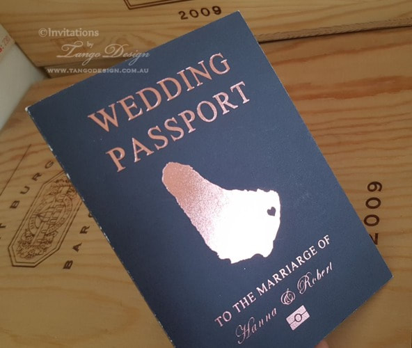 rose gold foil passport wedding invitation and save the date